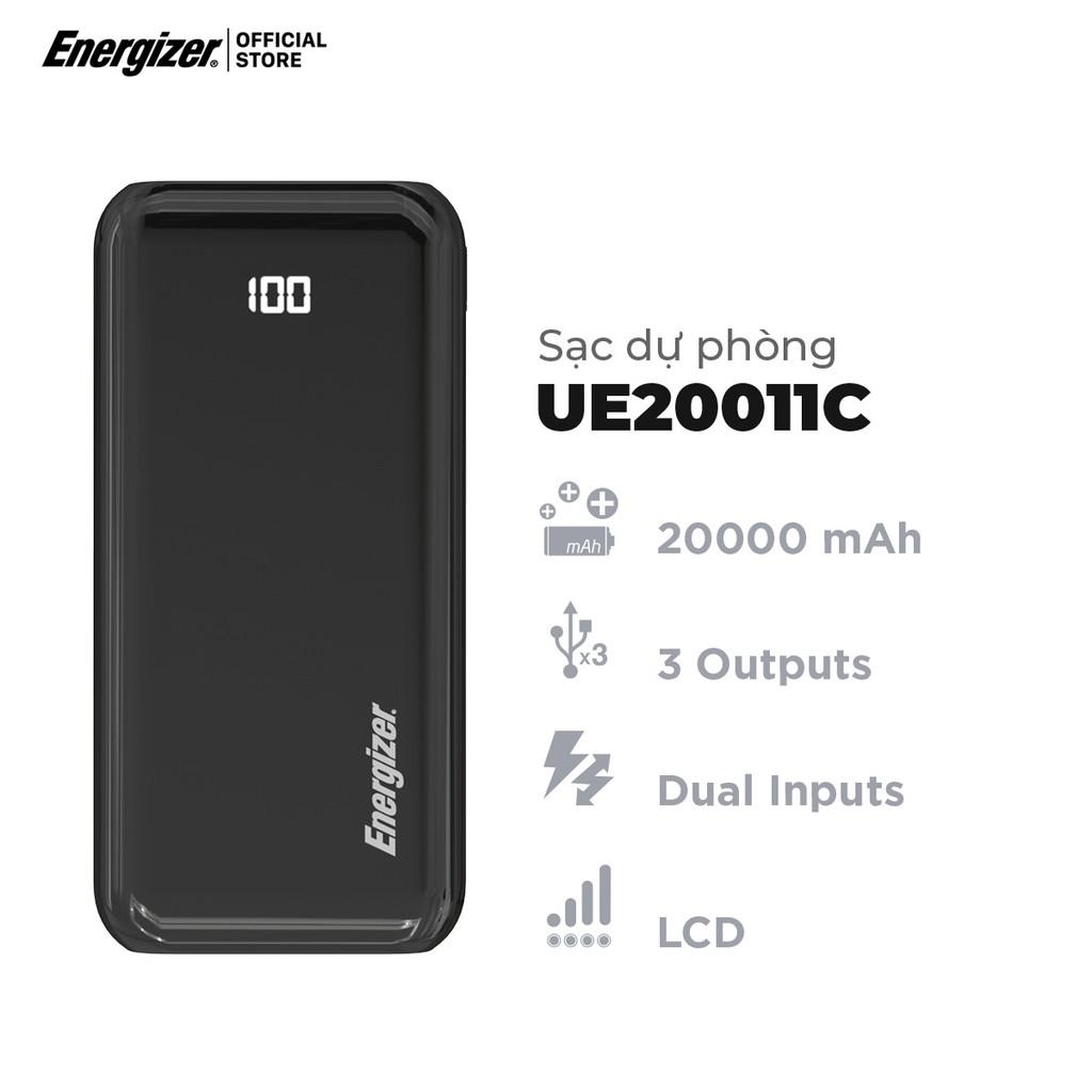 [Mã ELTECHZONE giảm 5% đơn 500K] Sạc dự phòng Energizer 20,000mAh UE20011C - tích hợp 3 cổng outputs và 2 cổng inputs