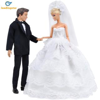 Princess White Five Layer Lace Wedding Dress and Prince Suit Clothes Set doll Ken Doll