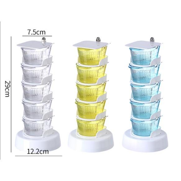 Hộp đựng gia vị 5 tầng xoay 360 độ thông minh, tiện dụng cho không gian nhà bếp sang trọng