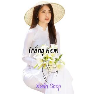 Áo dài trắng học sinh cổ vuông hở 2 tà lụa nhật / áo dài nữ / áo dài truyền thống