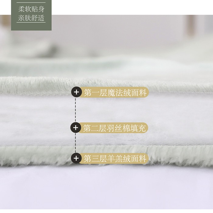 ✗Embroidery thickened three-layer flannel lamb velvet autumn winter blanket quilt single double cover coral