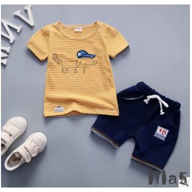 ღ☭Fashion Toddler Kids Boy Cotton Stripe Cartoon Dog Tops T-shirt Lacing Long Pants Outfits Set