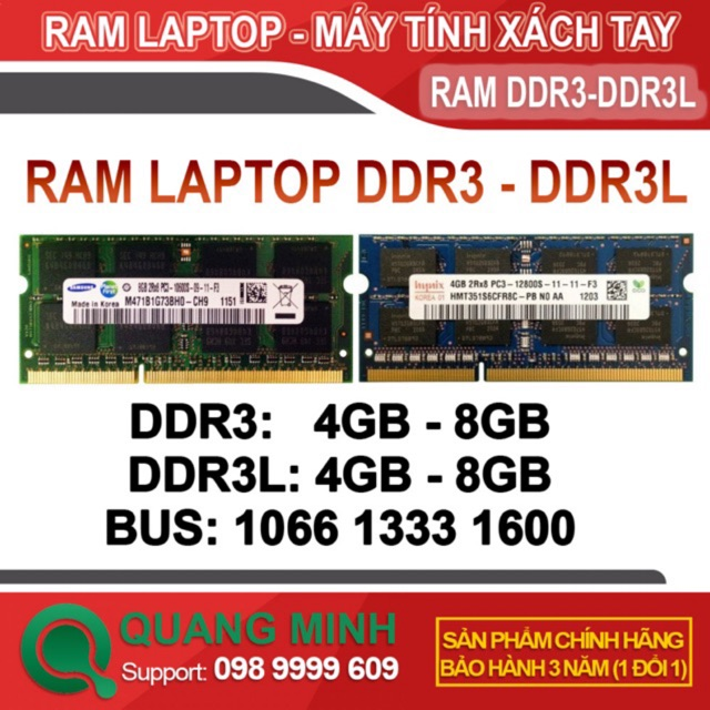 Ram Laptop DDR3 (PC3) 4Gb 8Gb Bus 1066/1333/1600 hàng tháo máy zin, Bảo Hành 3 Năm