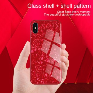 For iPhone X XS XS Max XR Fashion seashell texture pattern Phone Cases with Tempered Glass Hard Case Cover