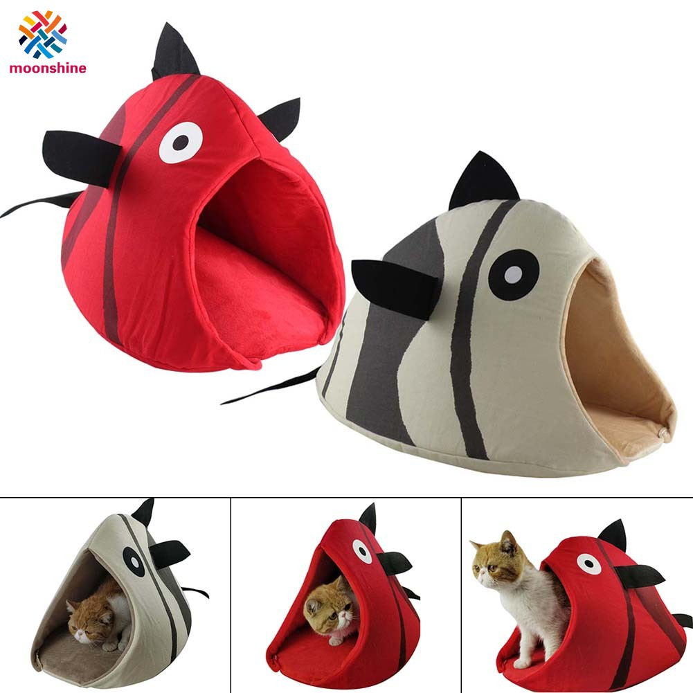 Foldable Cat Nest Felt Fish Shaped Small Dog Bed House Winter Warm Puppy Cave Sleeping Bag Kennel
