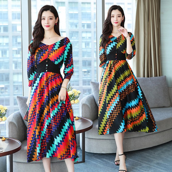 Đầm dài cổ chữ V phong cách Hàn Quốc cho nữ