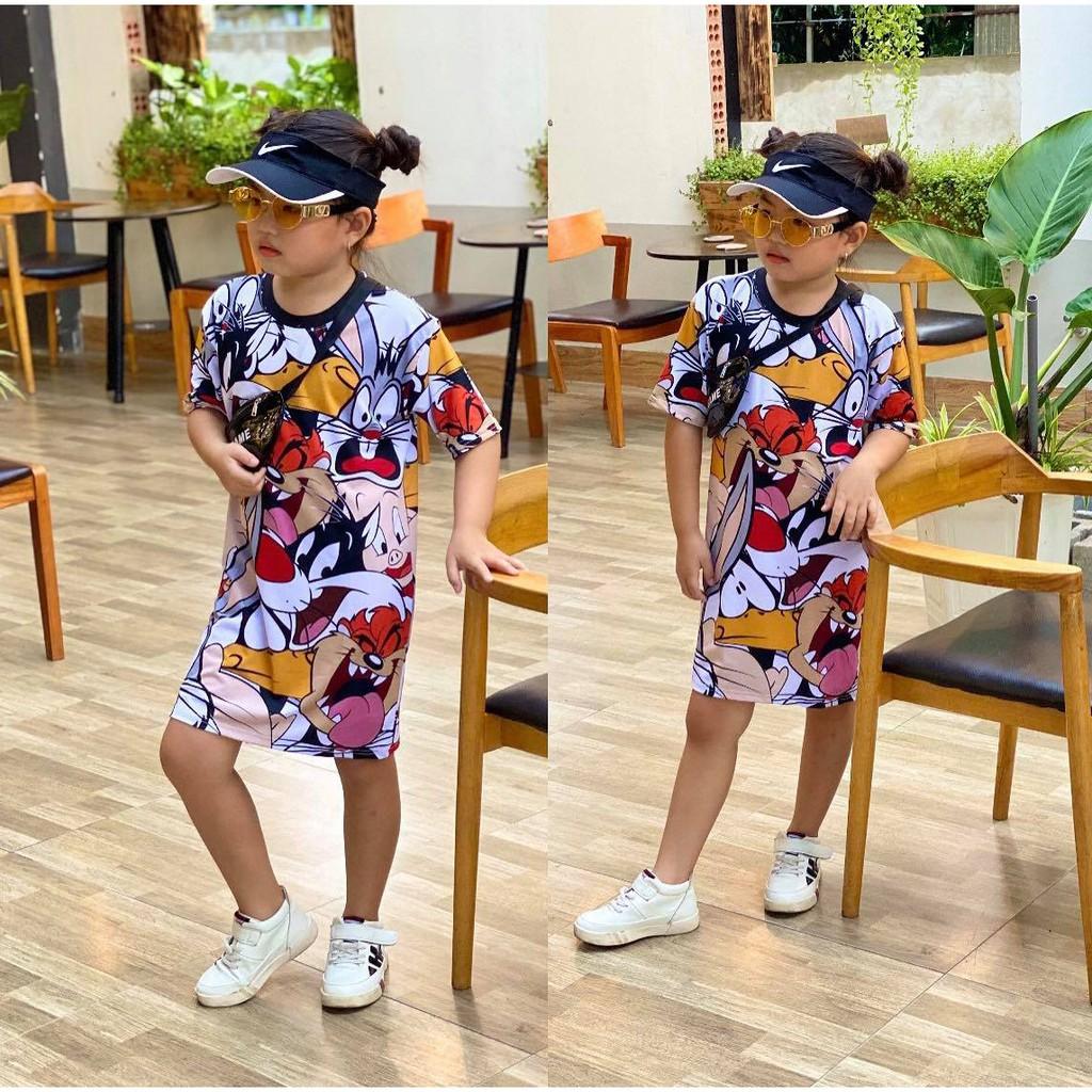 Đầm suông thun lạnh in 3D size nhí cho bé gái từ 10 đến 21kg - Đầm váy bé gái