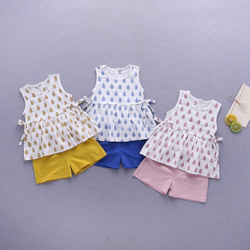 Summer Children Baby Girls Casual Sleeveless Drop Print Tops Vest+Shorts Suits
