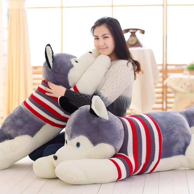 Gấu Bông Gối Ôm Chó Husky Bông Cute Khổ vải 1m3 - Quà Tặng Quà Sinh Nhật Độc Đáo Ý...