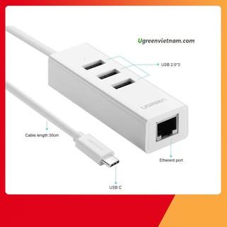 [SẬP GIÁ SỈ = LẺ] Cáp USB Type C ra 3 cổng USB 2.0 hỗ trợ Lan 10/100Mbps chính hãng Ugreen 20792