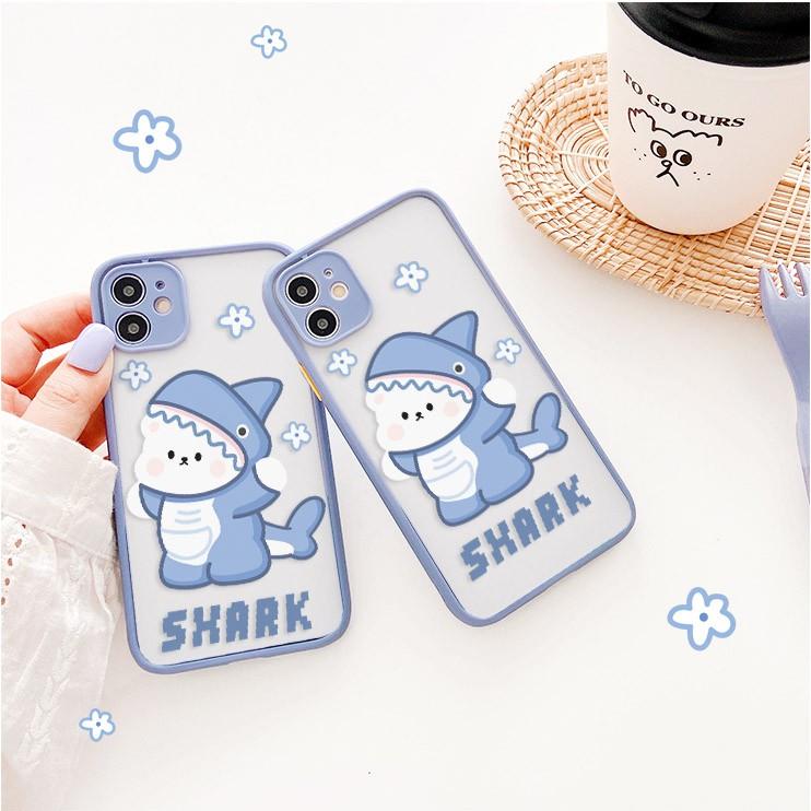 Ốp lưng iphone Gấu Shark nhám viền nổi cong 5/5s/6/6plus/6s/6splus/7/7plus/8/8plus/x/xr/xs/11/12/pro/max/plus/promax
