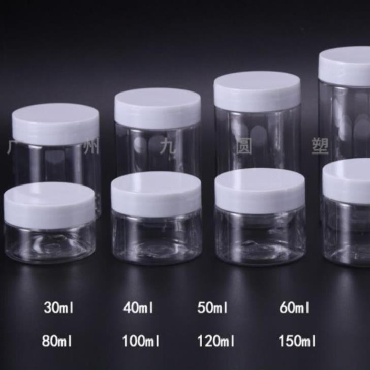 Hủ nhựa pet Trong Nắp Trắng 50g 100g 200g 250g / hủ đựng mỹ phẩm / chai lọ chiết mỹ phẩm