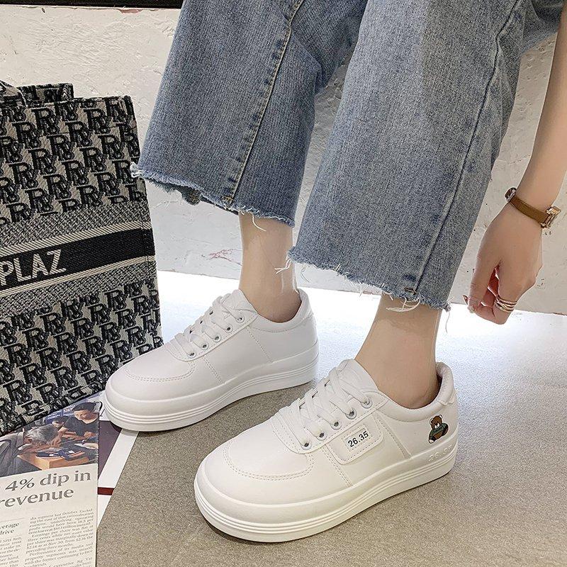 Giày thể thao trắng thiết kế phong cách harajuku nhật bản thời trang cho nữ