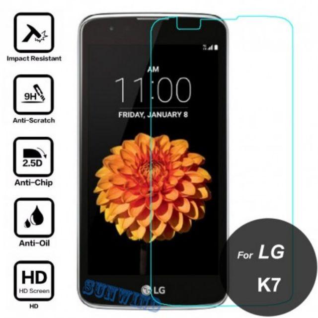 Kính cường lưc LG K7 kèm phụ kiện dán tại nhà ( trong suốt)