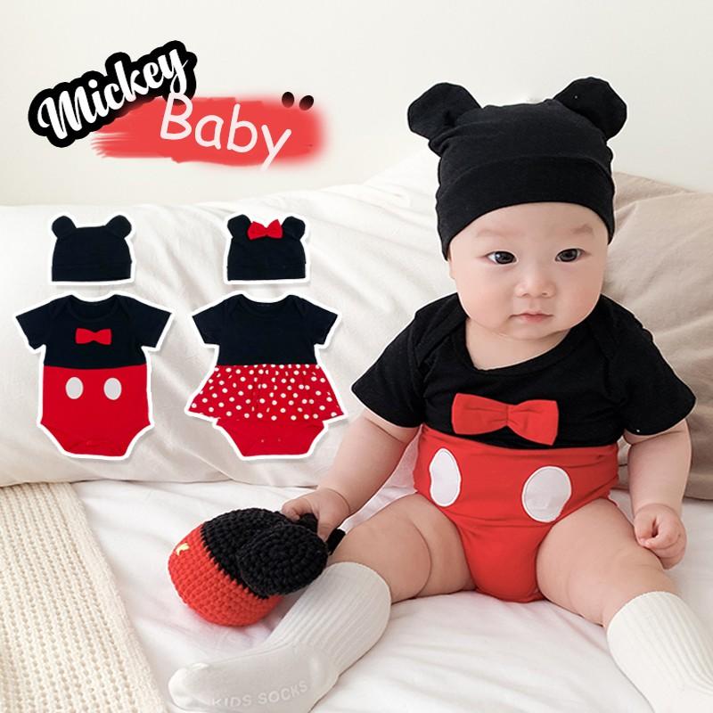 Set áo liền quần + nón in họa tiết hoạt hình dễ thương cho bé gái