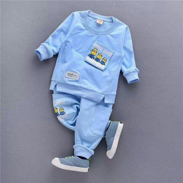 Bộ quần áo hình minion dài tay cho bé trai