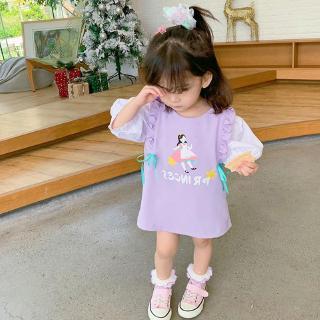 Đầm công chúa mùa hè in họa tiết ngọt ngào thắt dây xinh xắn cho bé gái