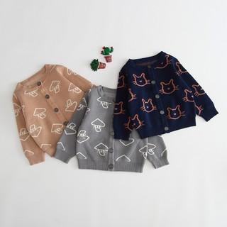 Áo len dài tay cardigan dài tay hình nấm, hình mèo cho bé