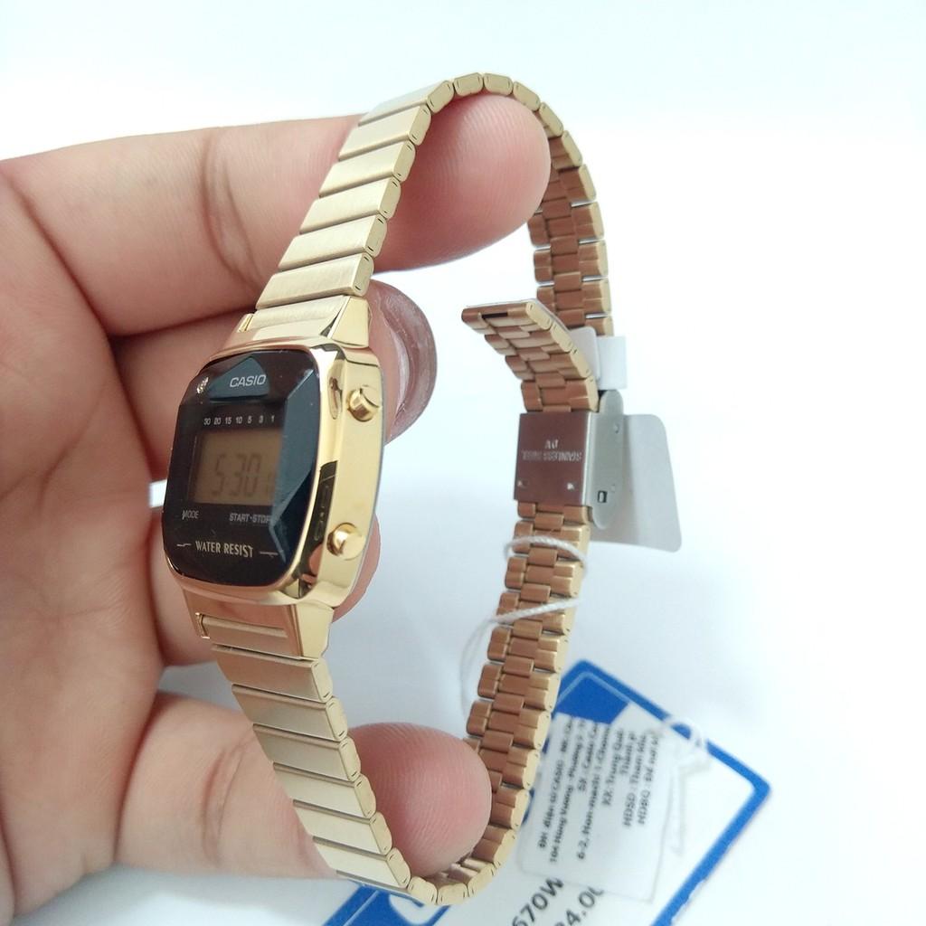 Đồng hồ Casio chính hãng nữ dây thép LA670WGAD-1DF