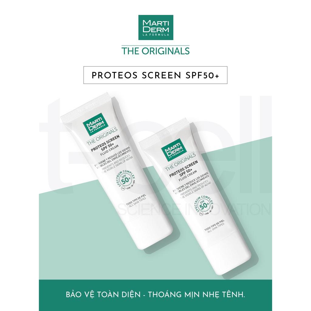 Kem chống nắng phổ rộng MartiDerm the originals proteos screen SPF50+ fluid cream TẶNG tẩy trang SVR (Nhập khẩu)