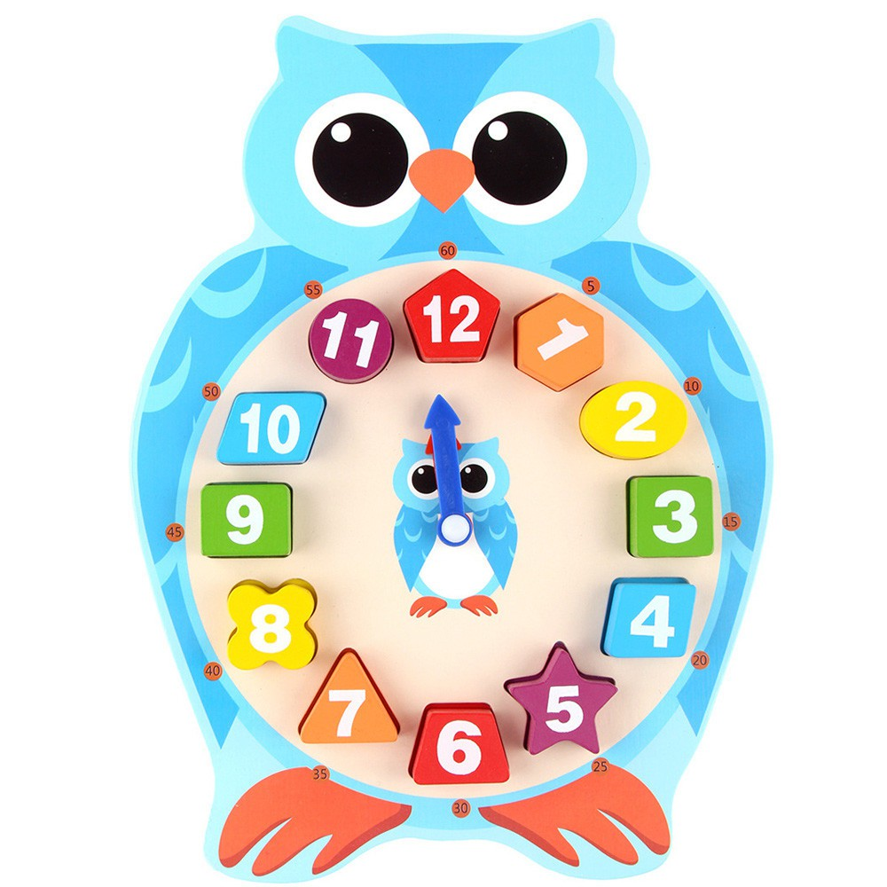 Animal Wooden Clock Puzzle 12 Numbers Match Child Early Educational Toy Gifts