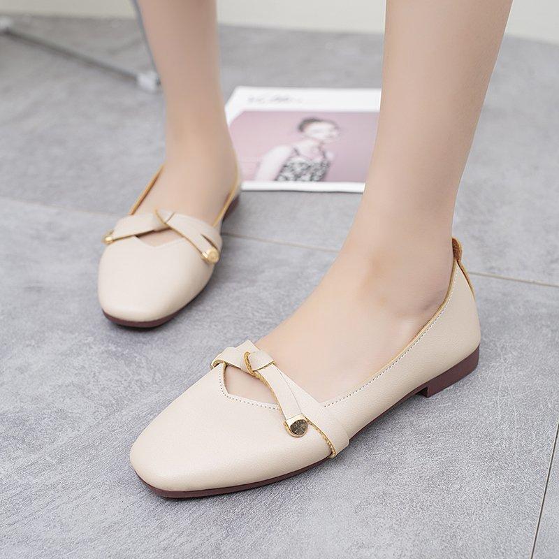 Giày Bệt Thông Thường Cho Nữ, Giày Đế Bằng Da Thời Trang Phong Cách Hàn Quốc, Giày Búp Bê