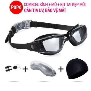 Bộ sản phẩm Kính bơi mũ bơi, bịt tai kẹp mũi POPO 2360, mắt kính bơi trong suốt chống tia UV bảo vể mắt