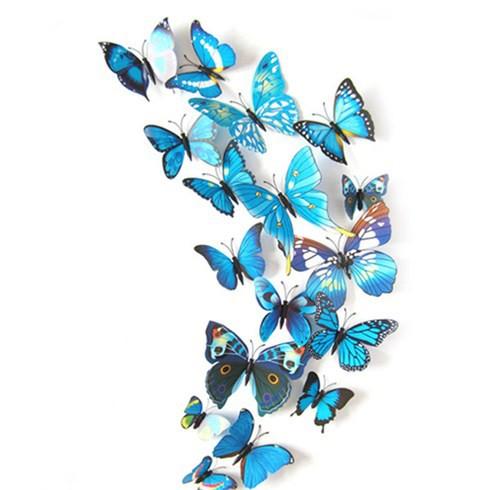 Set 12 bướm 3D trang trí tủ lạnh hoặc dán tường - Xanh Đen