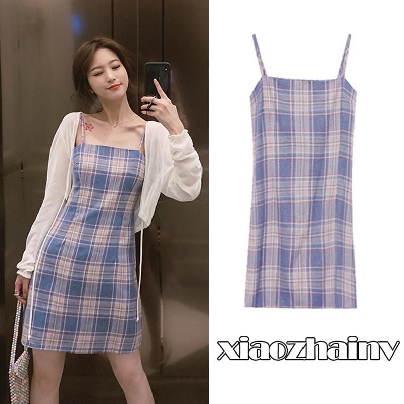 Đầm hai dây kẻ sọc ca rô Xiaozhainv thời trang Hàn Quốc quyến rũ c