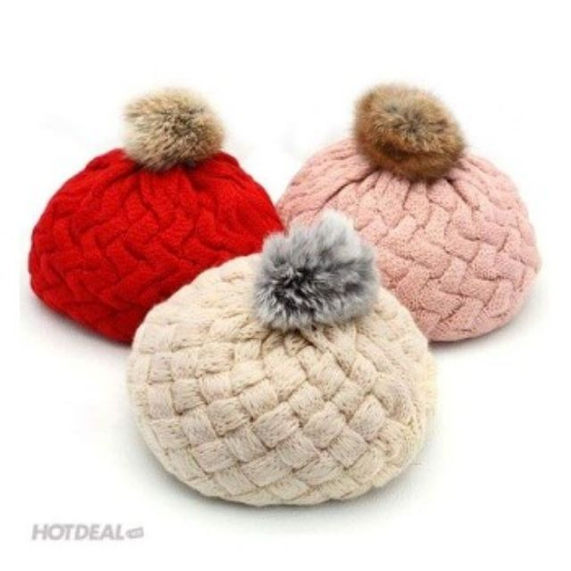 Mũ nồi len 1 quả bông, nón nồi len kiểu Hàn Quốc, mũ nồi len cho bé trai bé gái, mũ len cho bé từ 1-3 tuổi