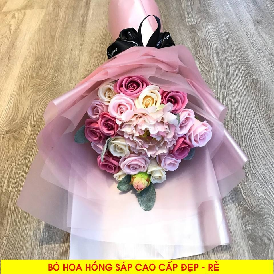 Bó Hoa Sáp Kèm Mẫu Đơn 19 Bông Cao Cấp