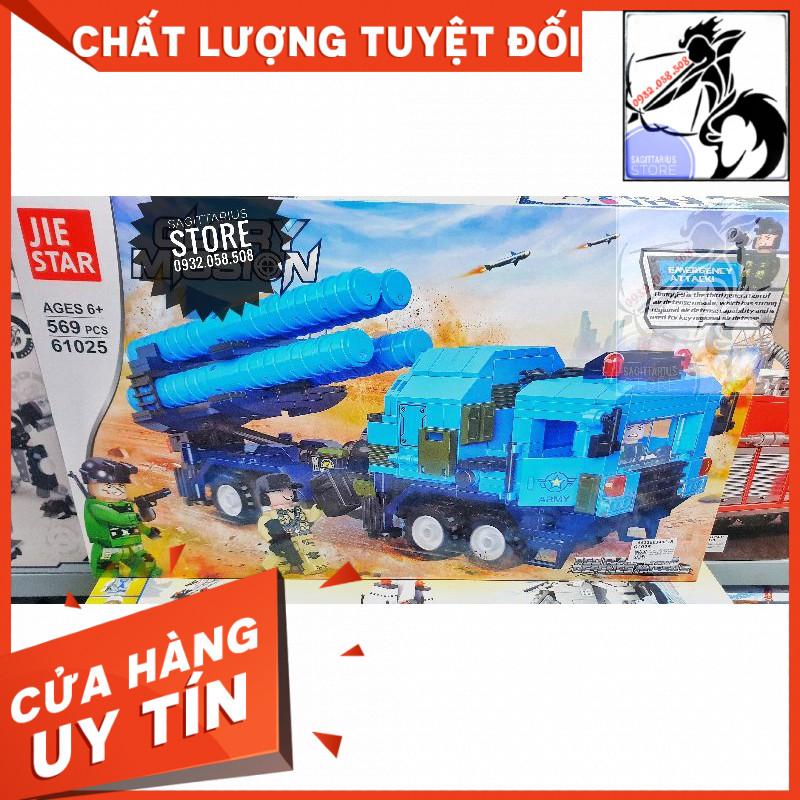 Bộ Lego Jiestar 61025 Lắp Ráp Xe Tải Phòng Không ( 569+ Mảnh )