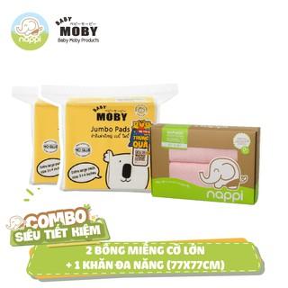 2 Bịch bông miếng Moby cỡ lớn (100 mếng bịch) 1 Hộp khăn đa năng Nappi (2 chiếc hộp)