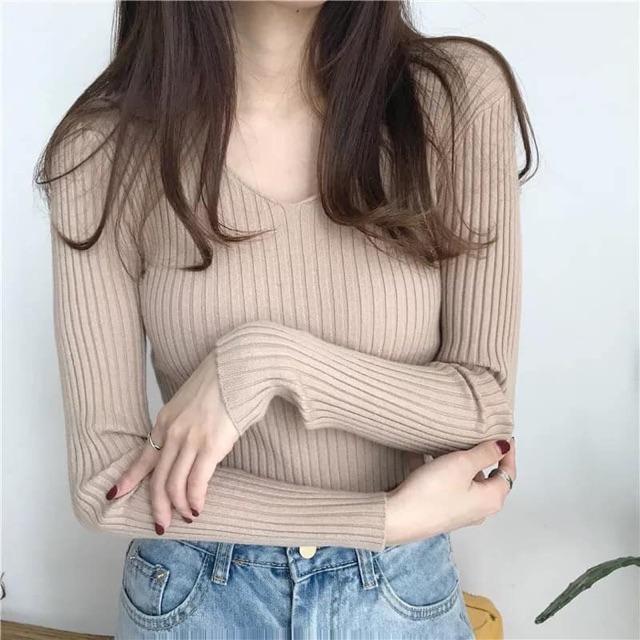 Áo len dài tay cổ tim siêu mềm hàng QC