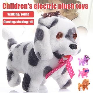 [sdp] Electric Cute Plush Dog Light LED Eyes Walking Barking Puppy Kids Toy Gift Plush Toy