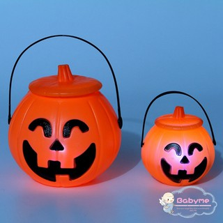 Portable Pumpkin Light Bucket Orange LED