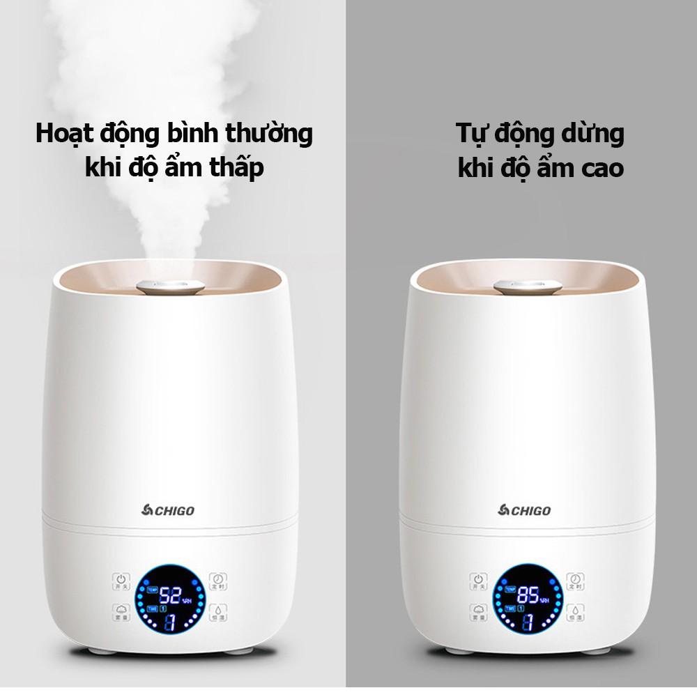 Máy phun sương tạo ẩm chính hãng CHIGO dung tích lớn 4L - Bình khuếch tán tinh dầu lớn -Công suất 30W, BẢO HÀNH 12 THÁNG