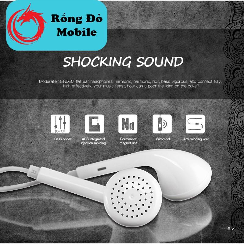 Tai nghe nhét tai chính hãng Sendem X2 dây TPE xoắn ốc chống đứt âm thanh nghe rất ấm bảo hành 1 đổi 1 trong 12 tháng