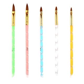 5Pcs Art Brush Tools Set Acrylic UV Gel Builder Painting Drawing Brushes Pens Cuticle Pusher Tool Brush