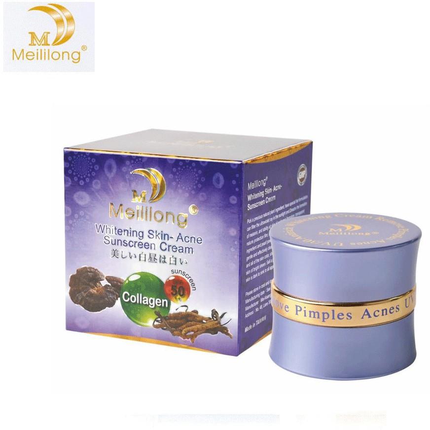 Kem dưỡng trắng da Đông Trùng Hạ Thảo Collagen - Meililong Whitening Skin Acne Sunscreen Cream 20g cao cấp