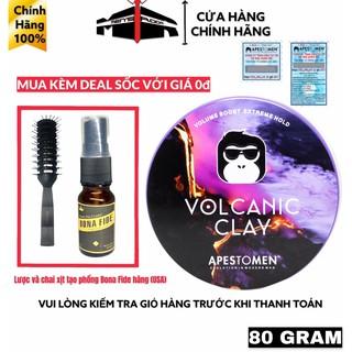 """Sáp wax vuốt tóc Nam Volcanic Clay Apestomen """"mua + kèm deal sốc xịt tạo phồng Bona Fide + Lược bán nguyệt vơi giá 0đ"""