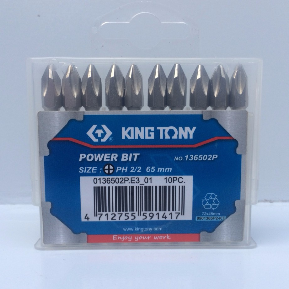 DCSG Hộp 10 mũi vít Kingtony 136502P Ph2 x 65mm
