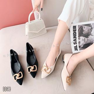 Bệt nữ HHS nhung sần khóa đồng xoắn gót vuông kim loại 1 phân Hà Huyền Shoes - BB169