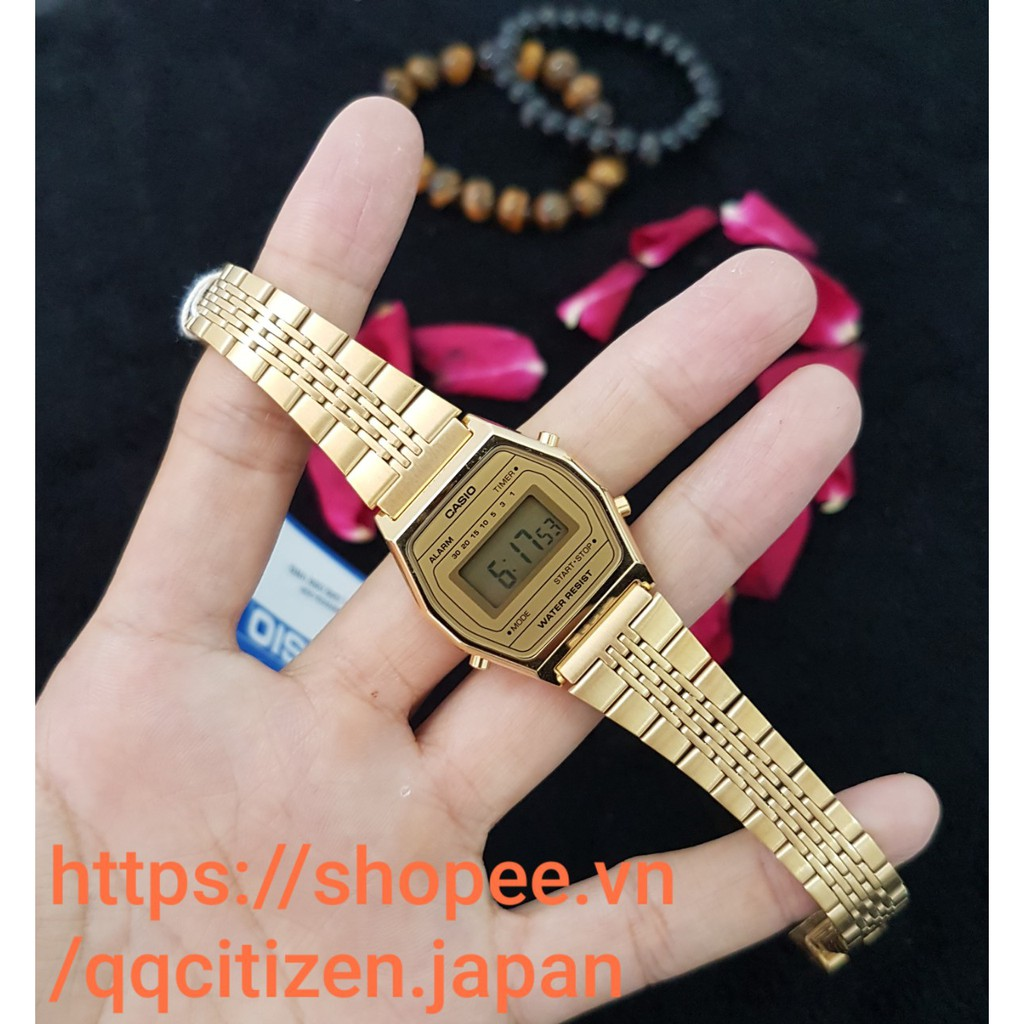 Đồng hồ điện tử nữ Casio LA690WGA-9DF dây kim loại