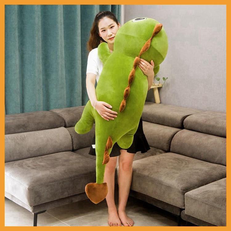 Gấu Bông Khủng Long Xanh - Hồng Đuôi Tim,Gối Ôm Khủng Long Siêu Mềm Mịn,Vải Nhung Cao Cấp Co Dãn 4 Chiều kích thước 70cm