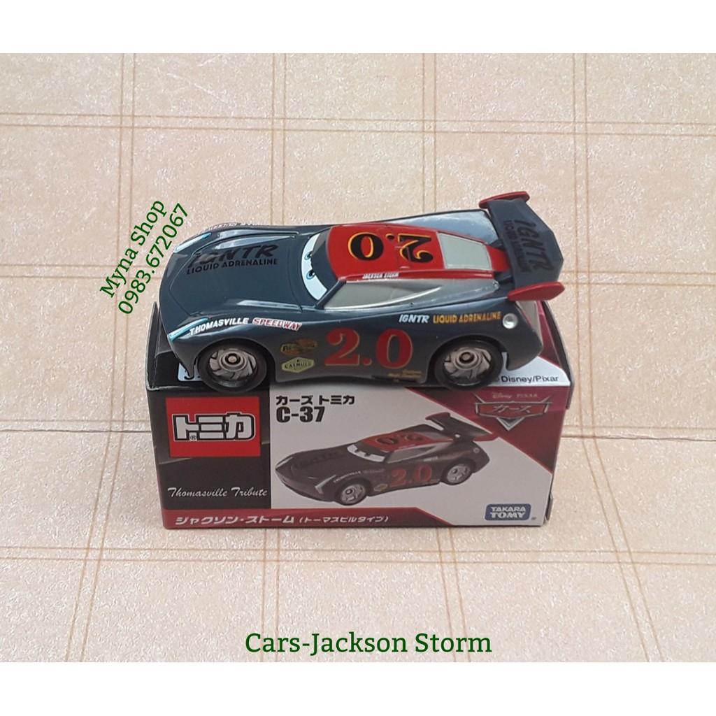 Xe mô hình tĩnh tomica Cars disney - Jackson Storm - mẫu có số 2.0 - xe kèm hộp như hình - tặng hộp nhựa PVC.