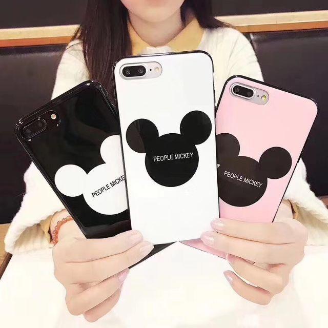 Ốp lưng iPhone 7 / 7plus Mickey mặt kính viền dẻo