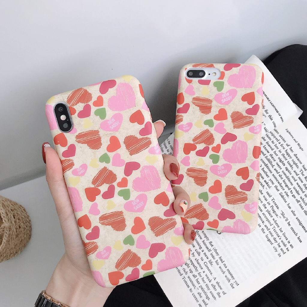 Shockproof  Korean Style Graffiti Love Paiting Silicone Case for iPhone 6 6s 7 8 6plus 8plus XR X XS XSMax Back Covers