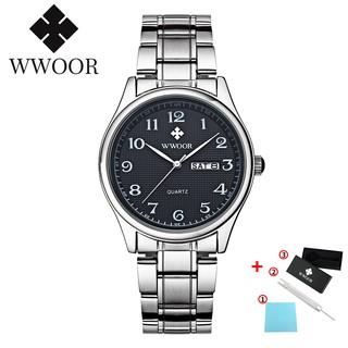 WWOOR men watch waterproof quartz analog fashion business watch stainless steel 8805M