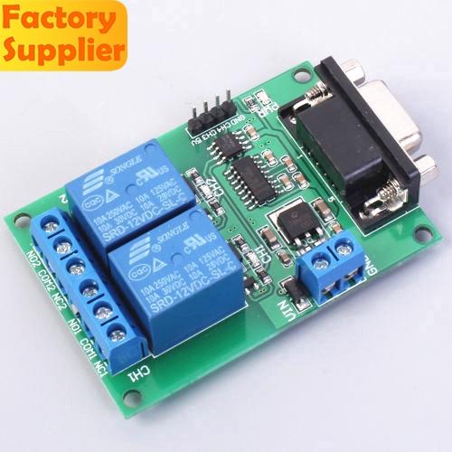 DC 12V 2CH 2 kênh RS232 DB9 Công tắc điều khiển rơle nối tiếp Mô-đun UART cho PC Home Automatic